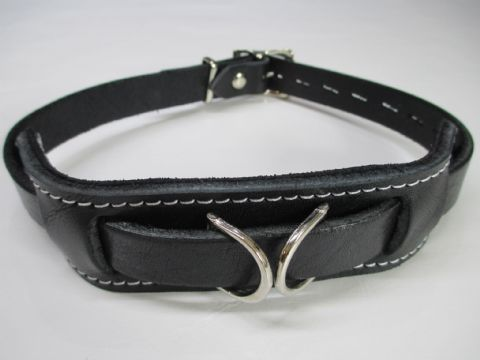 Black English Bridle Leather 'Duty' locking Collar
